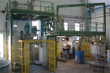 Planta de alimentación automática para un mezclador MRV 1000-ID GPA SAS Colombia Mezcladores Plantas de producción Valtorta Mixer Italia Plásticos PVC
